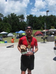 Coach Pat after his first 50K sporting his 2nd place medal.